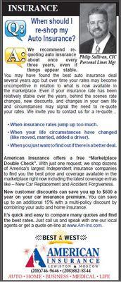 Q & A: When should I re-shop my auto insurance? - American Insurance